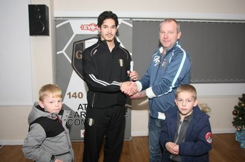 JAG Decorating presenting the Man of the Match Award to Michael Hollingsworth after his performance against Halesowen Town