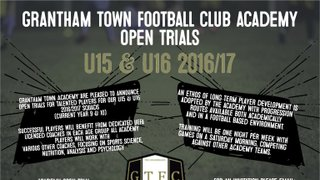 Grantham Town FC Academy U15 & U16 Open Trials for 2016/17
