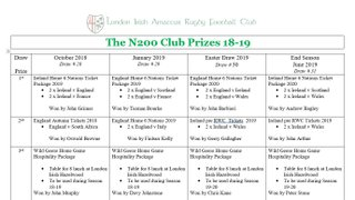 London Irish  N200 Club -  Don't miss out