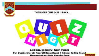 The Rugby Club Quiz Is Back This Bank Holiday Sunday!!!