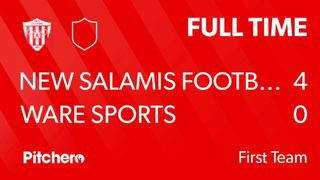 Match Day 31 Result : New Salamis FC 4 - 0 Ware Sports FC