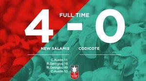 Match Day 7 Result : New Salamis 4 - 0 Codicote