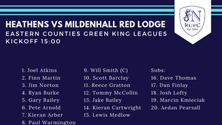 Squad Announced -  Heathens vs Mildenhall Red Lodge