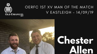 OERFC 1st XV Man of the Match v Eastleigh - Chester Allen