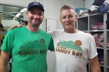 Matt and Grant modelling 30th Anniversary Retro Shirts