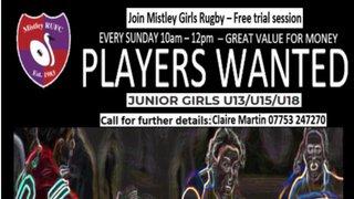 Players Wanted Junior Girls U13/15/18