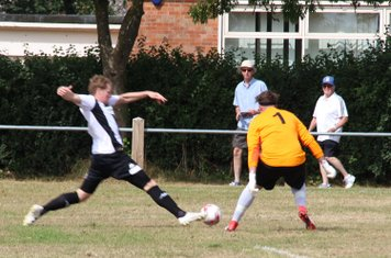 Nathan Stone taking on the Downham Keeper