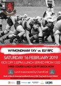 Saturday 16 February Pre-Match Lunch as Wymondham 1XV take on Ely 2:30pm KO