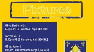 This weekends fixtures - vs Harborne Hockey Club & Barford Tigers Hockey Club