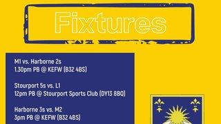 Fixtures (13/10): Games vs. Harborne Hockey Club, Stourport Hockey Club, Yardley Hockey Club, Droitwich Hockey, Streetly Hockey Club