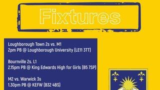 Fixtures (20/10): Games vs. Loughborough Town Hockey Club, Bournville Hockey Club, Warwick Hockey Club, Bromsgrove Hockey Club, Sutton Coldfield Hockey Club, Kingswinford Hockey Club