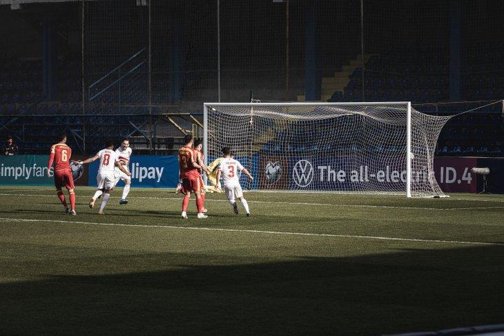 Reece Styche scoring from the penalty spot for Gibraltar, courtesy of Gibraltar FA