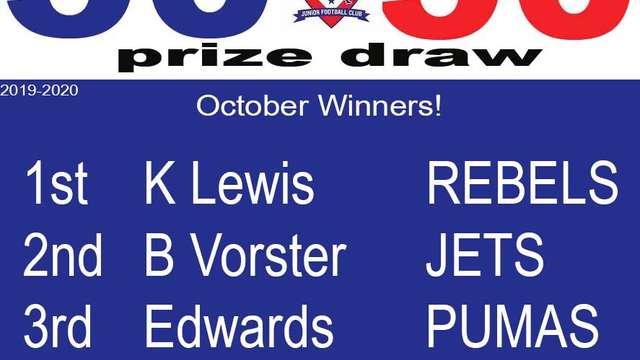 50 v 50 October Draw Winners!!!