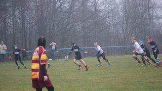 Wigan U12's visit Sedgley Park in the mist.  (Won 7-3). Apologies for the poor photo quality, the camera doesn't like rain.