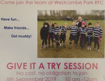 Minis rugby -  Give it a Try Session, Sunday 8th September