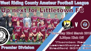 Tomorrow's First Team Fixture