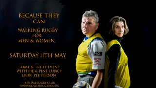Saturday 11th May | Walking Rugby Exhibition | Pie & Pint  | Try-it-yourself!