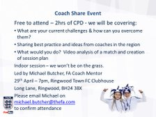 FA Mentor Coach Share Held At Ringwood Town FC