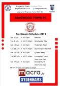 2019-20 Pre Season Fixtures