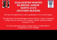 Bilbrook North U14's - Goalkeeper Wanted