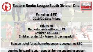 Season 2019/20 Admission Prices