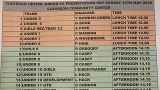Presentation time slots. Sunday 12th May 2019