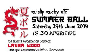 Ruislip Rugby Summer Ball - 29th June 2019