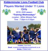 Under 11 Lions Girls New Players Wanted Season 2019   2020