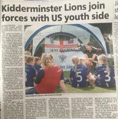 In the Kidderminster Shuttle about our sporting friendship with Orlando City Youth Soccer Club, Florida