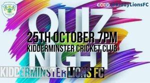 Kidderminster Lions Quiz Night 25th October 2019 7PM