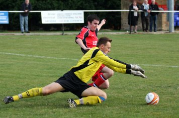 St Ives goalie just beats Jamie Mc to the ball