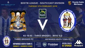 Tuesday League Action as Heath travel to Three Bridges FC