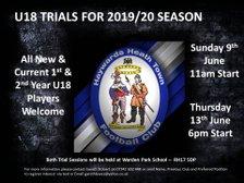 U18's Trials Start June