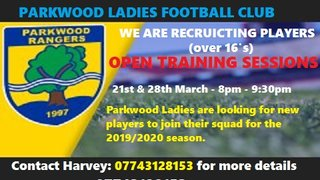 PARKWOOD LADIES OPEN TRAINING SESSIONS
