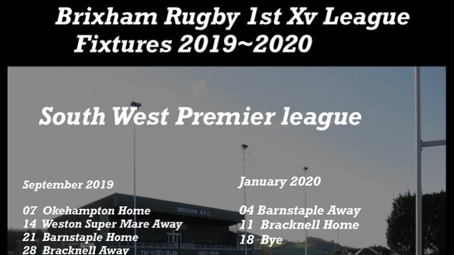 Brixham Rugby 1st Xv League Fixtures 2019~2020