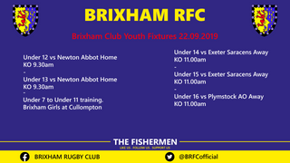 Brixham Club Youth Fixtures 22.09.2019