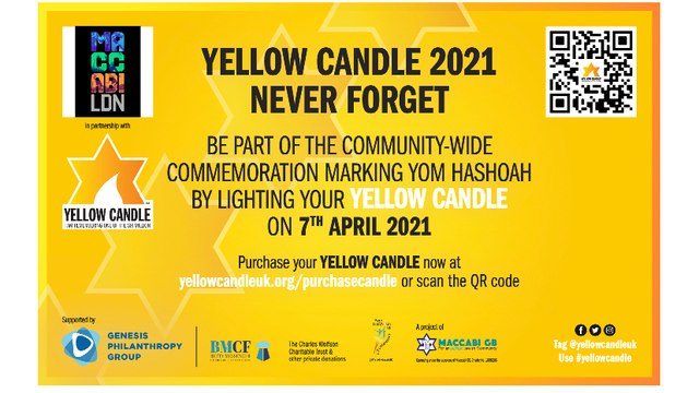 MACCABI GB YELLOW CANDLE APPEAL for YOM HASHOAH