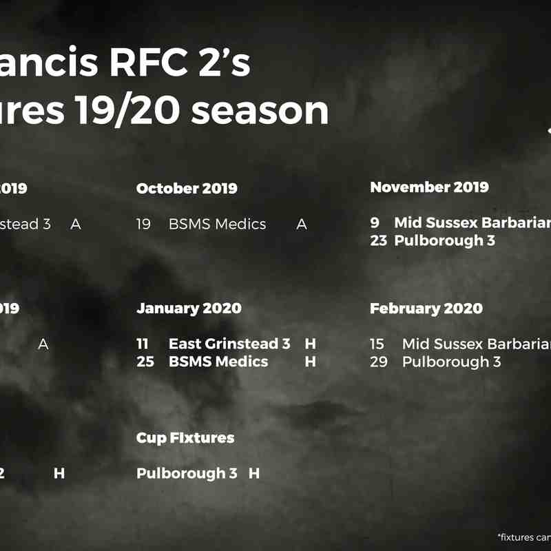 St Francis Fixtures 2019/2020 Season