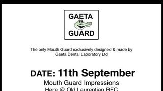 Sunday 11th September: Gaeta Guard Bespoke Mouth Guards at the club