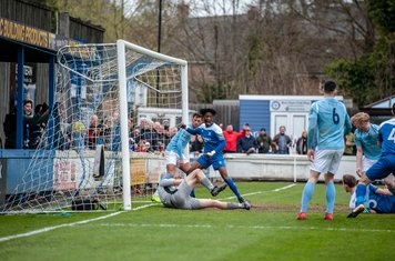 Ollie Hughes gives Bury Town the lead against Brentwood Town