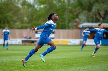 Emmanuel Machaya celebrates against Heybridge Swifts