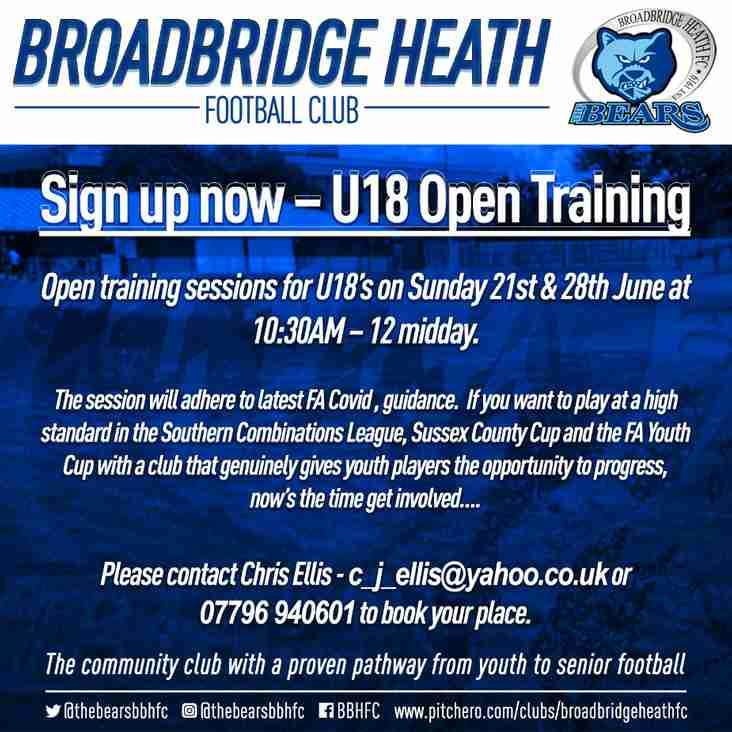 Under 18 Open Training Sessions