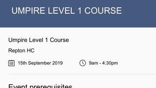 England Hockey - Level 1 Umpire Course 15th September