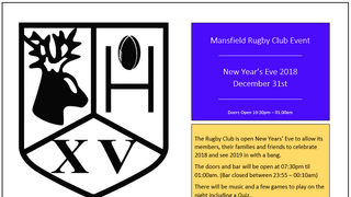 NEW YEARS EVE PARTY AT THE RUGBY CLUB - 2018