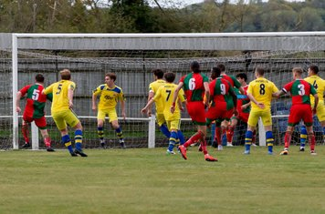 A Chalfont chance from a corner goes just wide