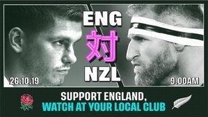ENG v NZ Saturday 26th October 9am KO