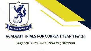 Academy trials for year 11s & 12s