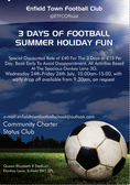 ENFIELD TOWN FC SCHOOL HOLIDAY 3 DAYS OF FOOTBALL FUN