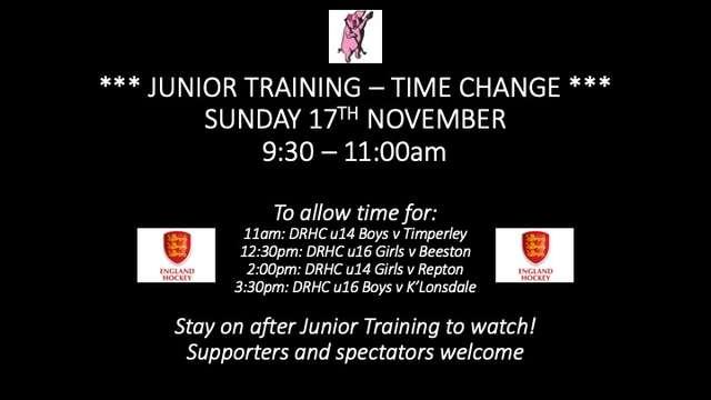 Junior Training - Sunday 17 November - Time Change