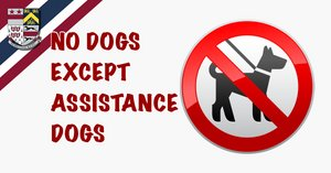 NO DOGS EXCEPT ASSISTANCE DOGS !!